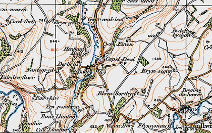 Old map of Afon Clettwr in 1923