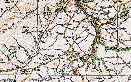 Old map of Capel Gwynfe in 1923