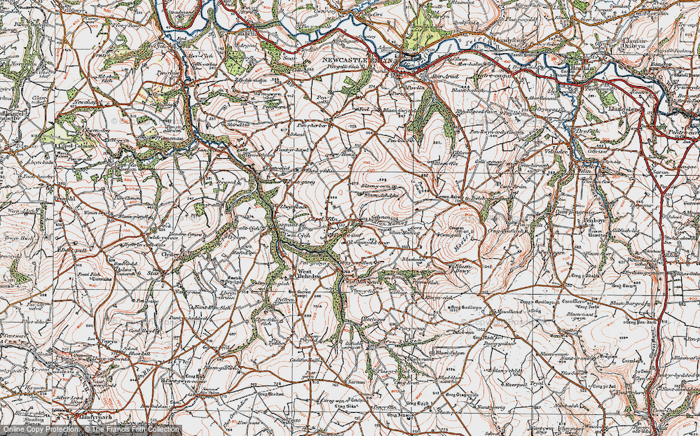 Old Map of Historic Map covering Afon Mamog in 1923