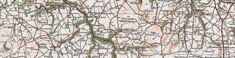 Old map of Afon Mamog in 1923