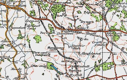 Old map of Capel Llanilltern in 1919