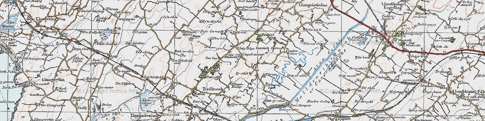 Old map of Ysgubor Fawr in 1922