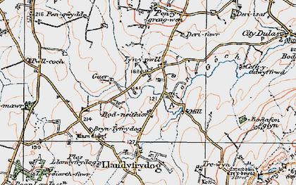 Old map of Afon Goch in 1922