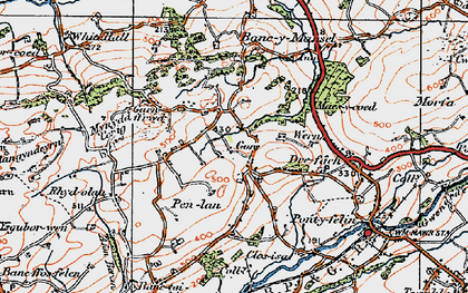 Old map of Capel Seion in 1923