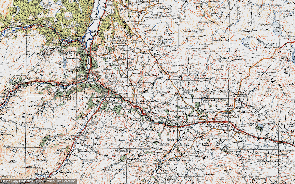 Old Map of Historic Map covering Afon Gwrysgog in 1922
