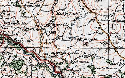 Old map of Afon Gwrysgog in 1922