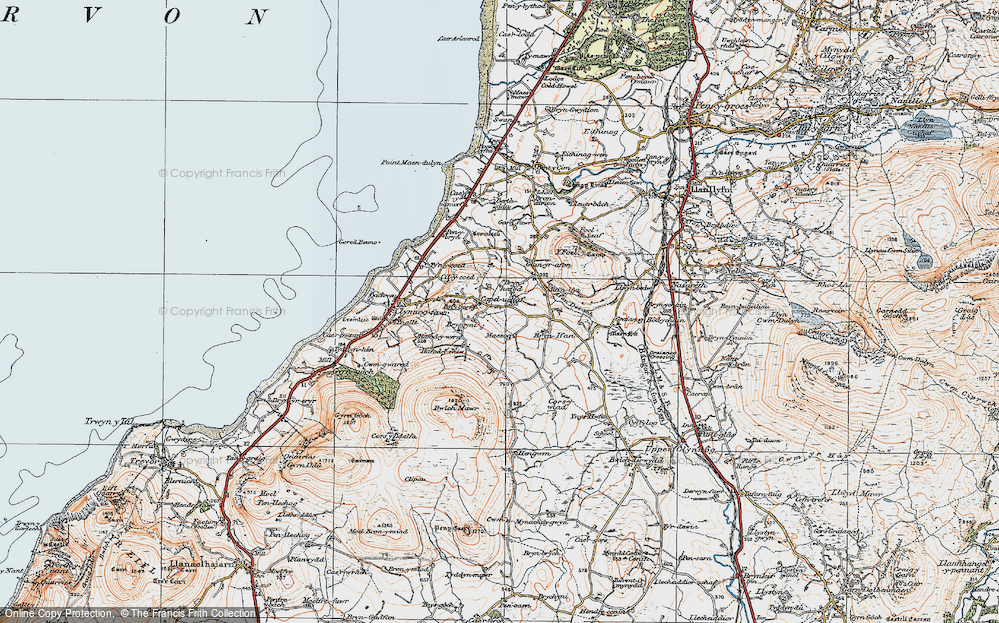 Old Map of Historic Map covering Afon Desach in 1922