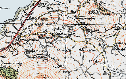 Old map of Afon Desach in 1922