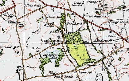 Old map of West Shaftoe in 1925