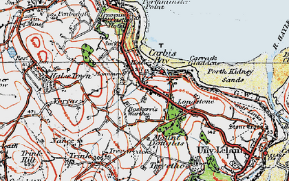 Old map of Carbis Bay in 1919