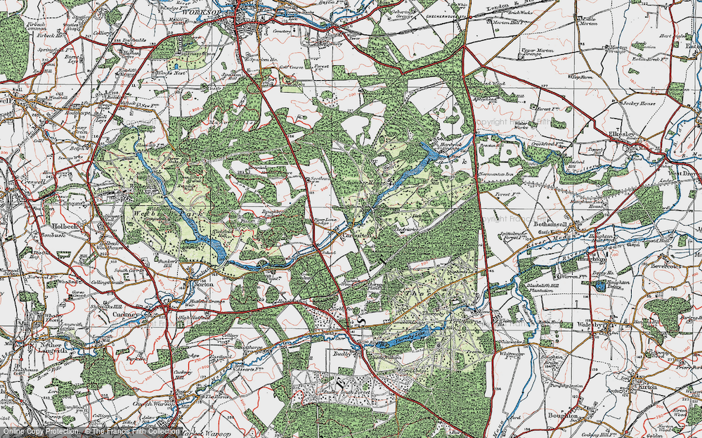 Old Map of Historic Map covering Aviaries, The in 1923