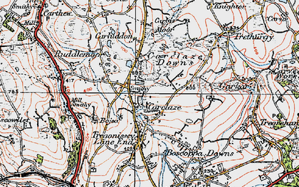 Old map of Carclaze in 1919