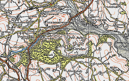 Old map of Carclew in 1919