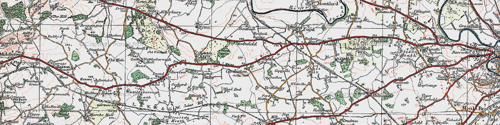 Old map of Whiston Priory in 1921