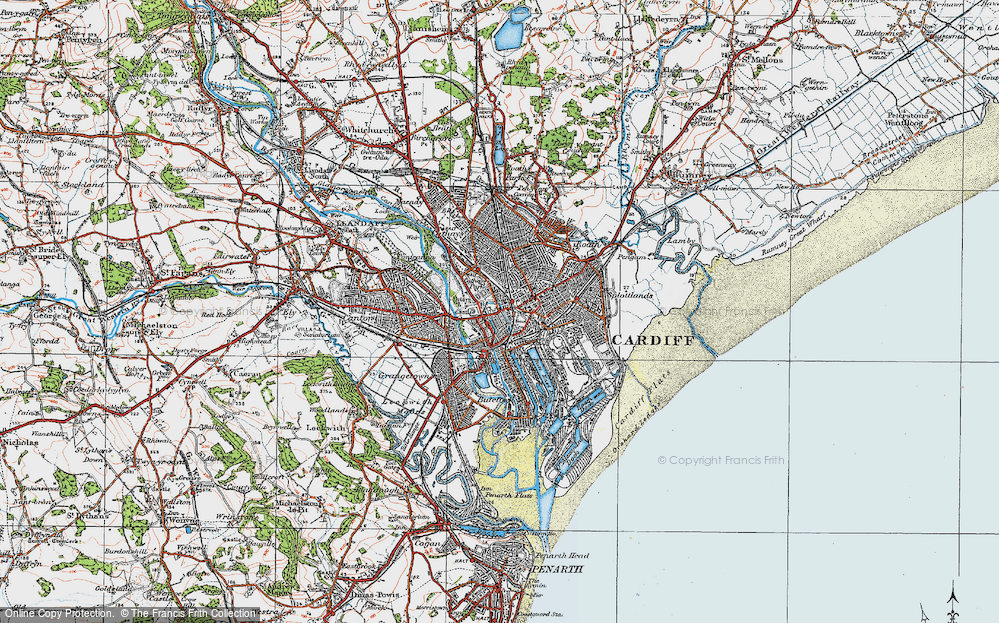 Old Map of Cardiff, 1919 in 1919