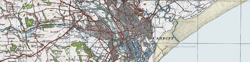 Old map of Cardiff in 1919