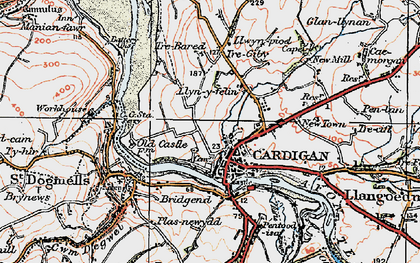 Old map of Cardigan in 1923