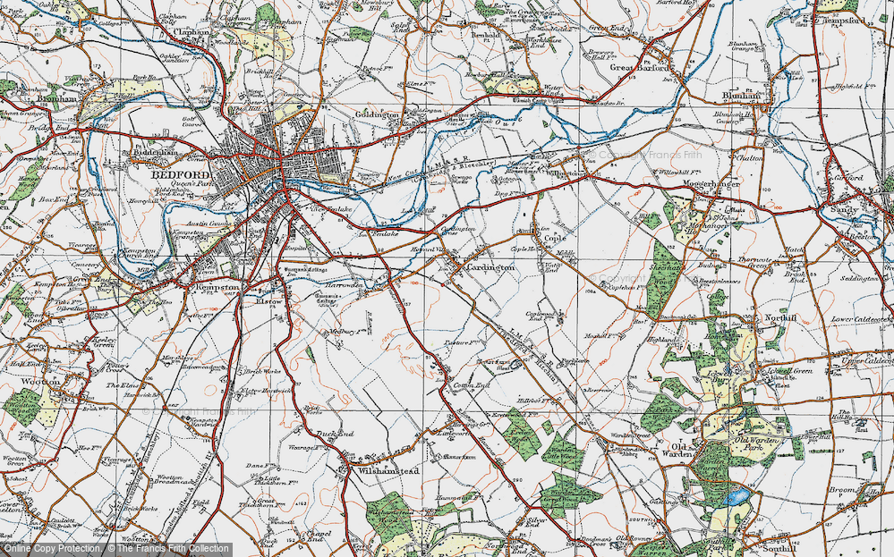 Old Map of Cardington, 1919 in 1919