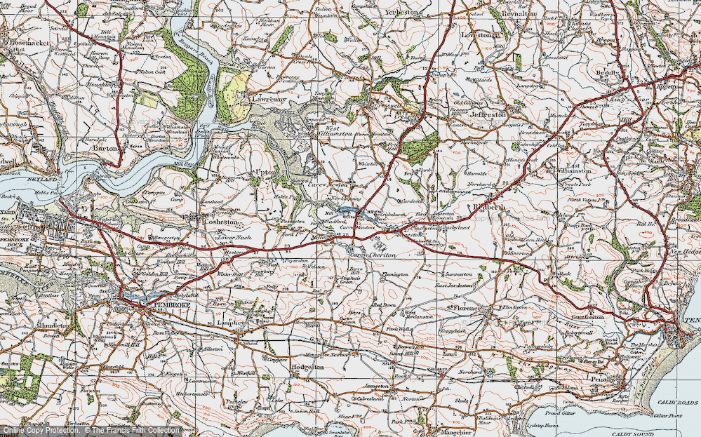 Old Map of Carew, 1922 in 1922