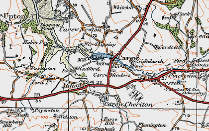 Old map of Carew in 1922