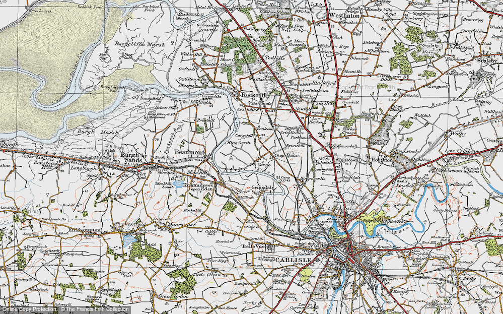 Old Map of Historic Map covering Bankend in 1925