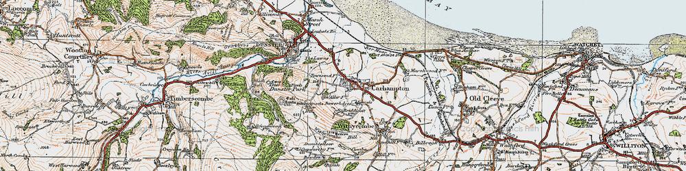 Old map of Carhampton in 1919