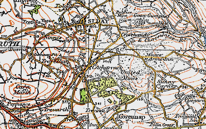Old map of Carharrack in 1919
