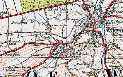 Old map of Carisbrooke in 1919
