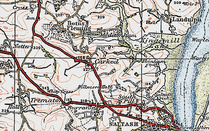 Old map of Carkeel in 1919