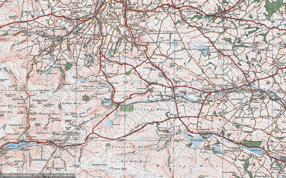 Old Map of Historic Map covering Thurlstone Moors in 1924