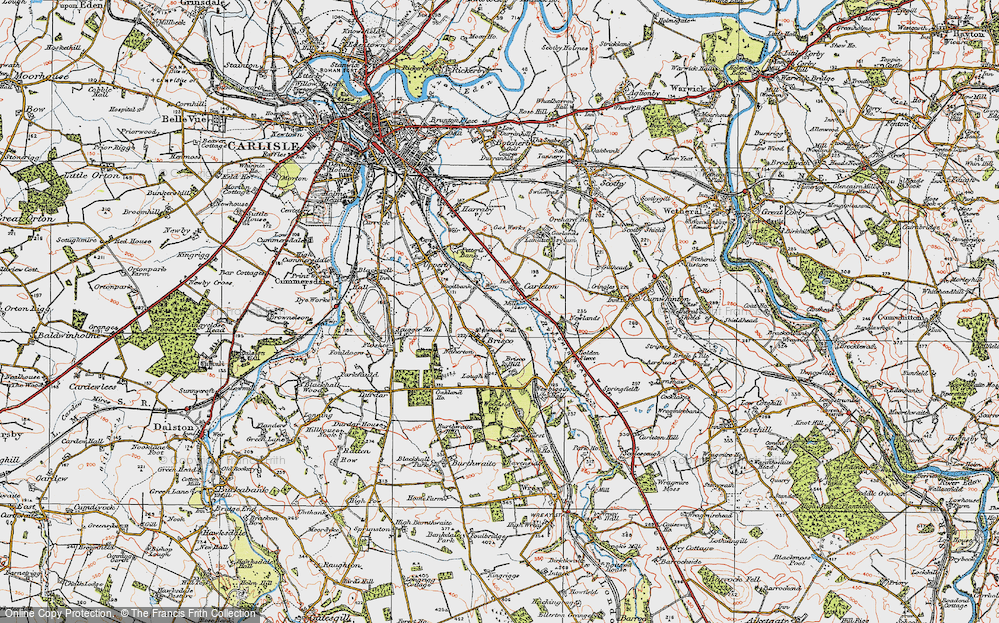 Old Map of Historic Map covering Woodbank Ho in 1925