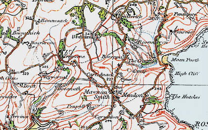 Old map of Carlidnack in 1919