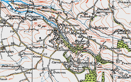 Old map of Carloggas in 1919