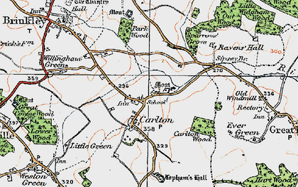 Old map of Carlton in 1920