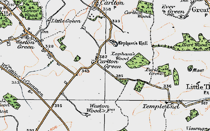Old map of Carlton Green in 1920