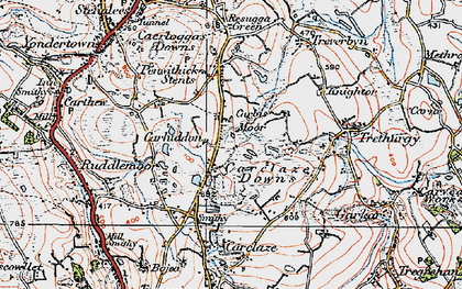 Old map of Carluddon in 1919