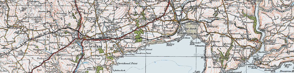 Old map of Carlyon Bay in 1919