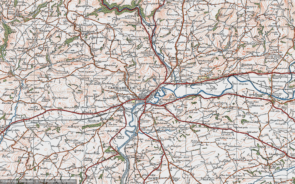 Old Map of Carmarthen, 1923 in 1923