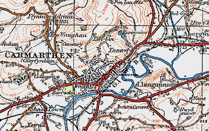 Old map of Carmarthen in 1923