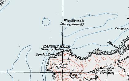 Old map of Ynys y Fydlyn in 1922