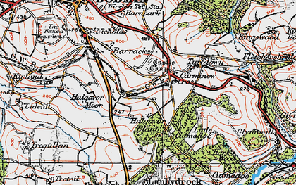 Old map of Carminow Cross in 1919