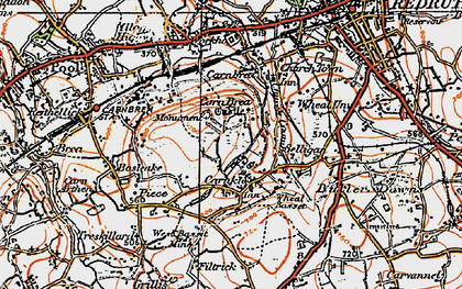 Old map of Carn Brea in 1919