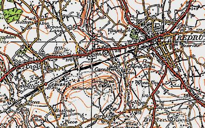 Old map of Carn Brea Village in 1919