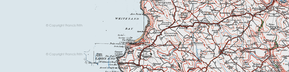 Old map of Whitesand Bay in 1919