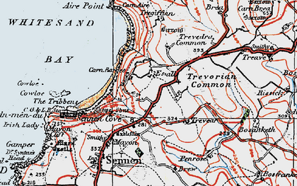 Old map of Carn Towan in 1919
