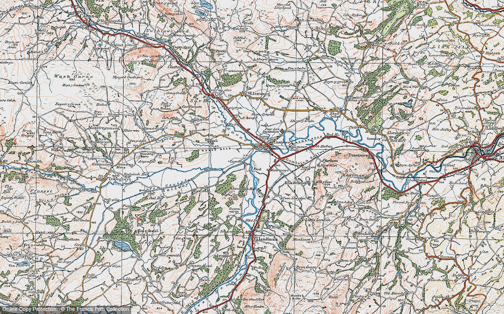 Old Map of Historic Map covering Afon Carno in 1921