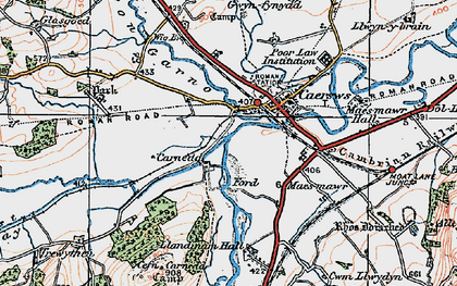 Old map of Afon Carno in 1921