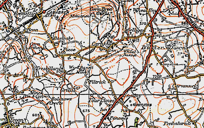 Old map of Carnkie in 1919