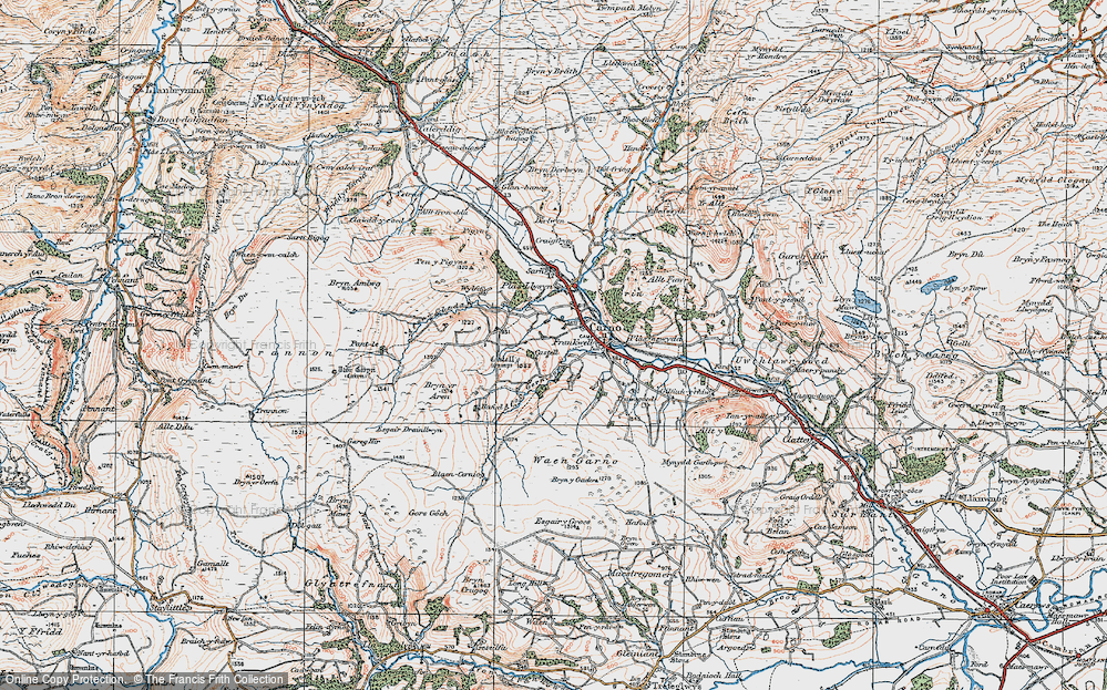 Old Map of Historic Map covering Afon Cerniog in 1921