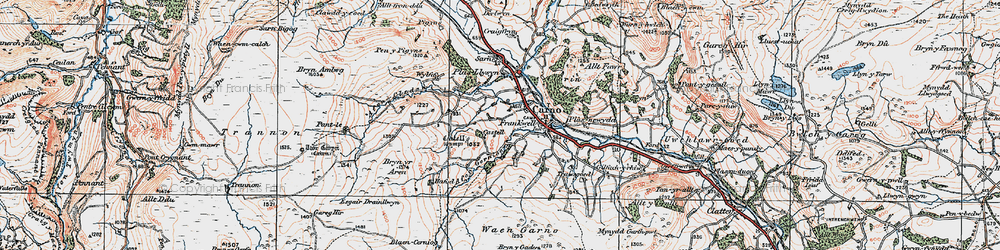 Old map of Afon Cerniog in 1921